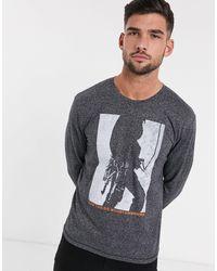 Tom Tailor – Langärmlige, graues Oberteil mit Blockfarben - Schwarz