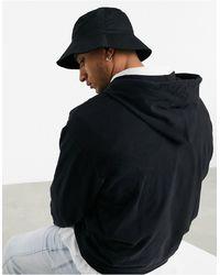 ASOS Bucket Hat Met Brede Rand Van Zwart Katoen
