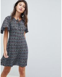 Madam Rage - Lace Up Front Frill Sleeve Dress - Lyst