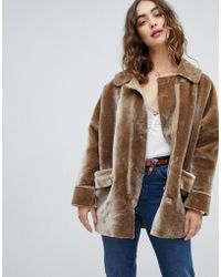 Free People Lindsay Faux Sherpa Coat - Gray