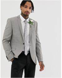 Heart & Dagger Slim Wedding Suit Jacket - Gray