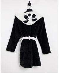 Brave Soul Черно-белый Флисовый Халат С Дизайном В Виде Панды -черный Цвет