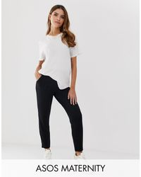 ASOS Asos Design Maternity Under/over The Bump Ultimate Jersey Peg Trousers - Black