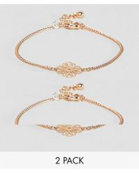 ASOS - Design Pack Of 2 Filigree Disc Bracelets - Lyst