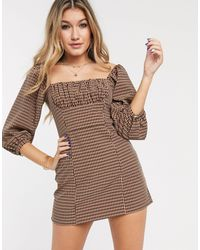 Capulet Cambria Ruched Check Mini Dress-brown