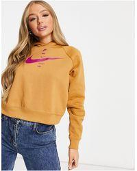 Nike Sudadera con capucha corta color marrón lino con logo - Neutro