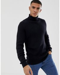 New Look - Textured Knit Roll Neck Jumper In Navy - Lyst