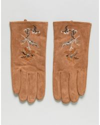 ASOS - Suede Gloves In Tan With Embroidery - Lyst