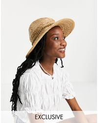 South Beach Соломенная Шляпа-федора -светло-бежевый - Многоцветный