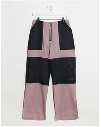 The Ragged Priest Gingham Pants With Black Side Panels - Pink