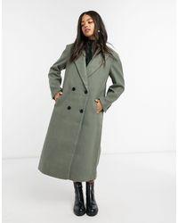 ASOS Shoulder Pad Maxi Coat - Green