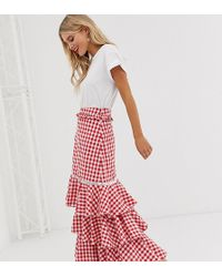 Glamorous Midi Skirt With Ruffle Layers In Gingham - Red