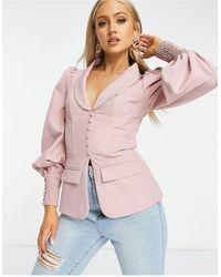Lavish Alice Corset Button Blazer Co Ord - Pink