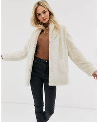ASOS Stand Collar Faux Fur Coat - Natural