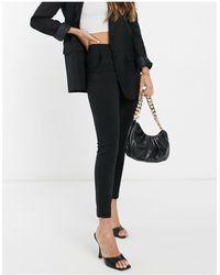 Mango Slim Leg Tailored Cigarette Trousers - Black