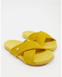 Fiorelli Uma Suede Sliders - Yellow