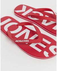 Jack & Jones Красные Шлепанцы С Названием Бренда На Стельке -красный