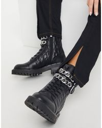 Stradivarius Quilted Chain Detail Boots - Black