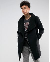 Black Kaviar - Wool Coat With Borg Lining In Black - Lyst