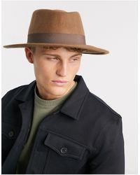 ASOS Бежевая Шляпа Регулируемого Размера С Широкими Полями И Лентой - Коричневый