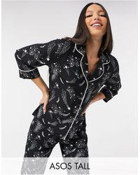 ASOS Пижамный Комплект С Рубашкой И Прямыми Брюками Из 100% Модала С Принтом Звездного Неба - Синий