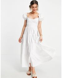 Stradivarius Milkmaid Poplin Dress With Puff Sleeves - White