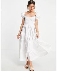 Stradivarius Vestito milkmaid lungo bianco