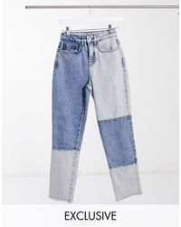 Reclaimed (vintage) - Inspired - The '91 - Mom jeans blu Patchwork - Lyst