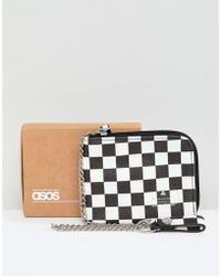 ASOS - Faux Leather Zip Around Wallet In Checkerboard Print - Lyst