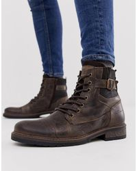 River Island Military Boots In Dark Brown