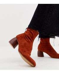 Bershka - Faux Suede Sock Boot With Round Heel - Lyst
