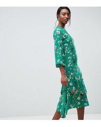 John Zack - Midi Tea Dress In Green Floral Print - Lyst
