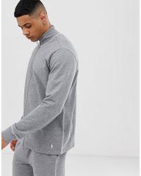 Polo Ralph Lauren Sweater Met Opstaande Boord, Rits, Contrasterend Stiksel En Polospeler-logo In Grijs - Zwart