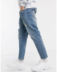 Only & Sons Cropped Destroyed Jeans - Blauw