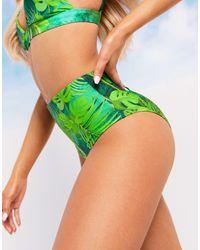 ASOS Swim Glam Mix And Match High Waist Bikini Bottom - Green