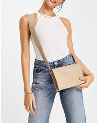 ASOS Beige Leather Multi Gusset Cross Body Bag With Wide Strap - Blue