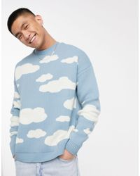 ASOS Oversized Knitted Jumper With Cloud Design - Blue
