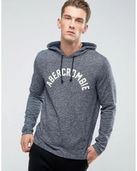 Abercrombie & Fitch - Long Sleeve Top Hooded Front Logo In Navy - Lyst