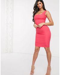 Vesper - Vestido ajustado midi con escote cuadrado en rosa - Lyst