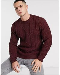 ASOS Heavyweight Cable Knit Sweater - Purple