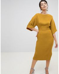 Closet - Ribbed Pencil Dress With Tie Belt In Mustard - Lyst
