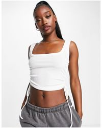 Missguided Lace Up Side Cami - White