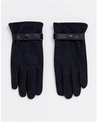 ASOS - Gants en cuir pour écran tactile avec empiècement anthracite - Noir - Lyst