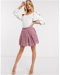 ASOS Cutwork Box Pleat Mini Skirt - Pink