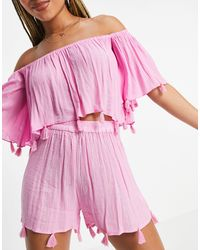 South Beach Bandeau Crinkle With Glitter Stripe Tassel Top And Shorts Set - Pink