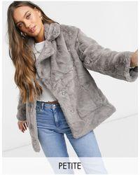 New Look Faux Fur Jacket - Grey