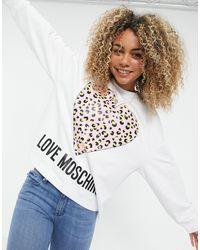 Love Moschino Белый Свитшот С Леопардовым Принтом В Виде Сердца