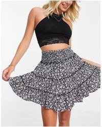 American Eagle Chiffon Tiered Mini Skirt - Black