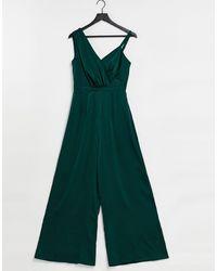 Chi Chi London Drape Shoulder Wide Leg Satin Jumpsuit - Metallic