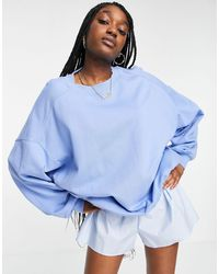 ASOS Super Oversized Cocoon Sweatshirt With Seam Detail - Blue